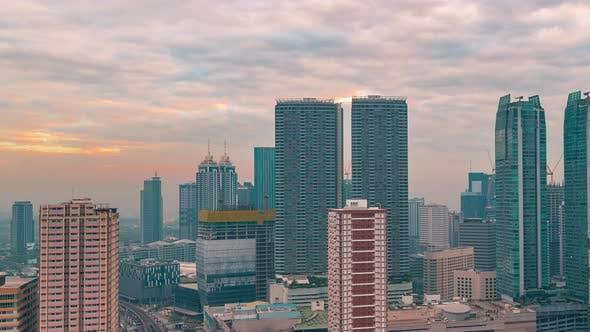 Thumbnail for Sunrise Cityscape Illuminated Downtown City Commuter Street Skyscraper Building