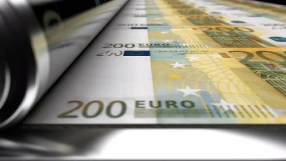 Thumbnail for Close up View of Press Machine Printing 200 EUR Banknotes