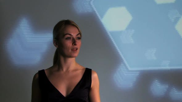 Female touching touch screen wall, Mid Shot, locked shot, CGI