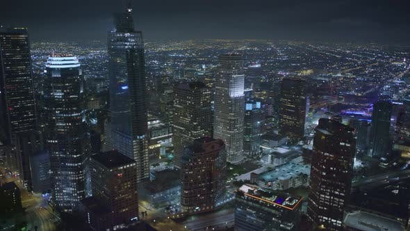 Thumbnail for night flight over Los Angeles downtown skyscrapers