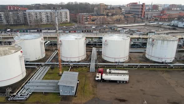 Petrol tanks in port warehouse