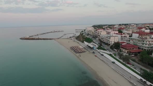 Thumbnail for Flying Over Resort Town with Quay. Nea Kallikratia, Greece