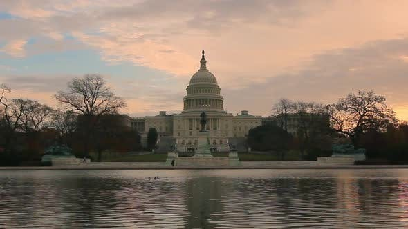 A time laspe static shot of the the U.S. Capitol at sunset in Washington DC.