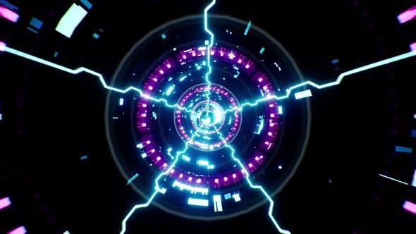 Cyberpunk Energie Burst Tunnel 4K Schleife