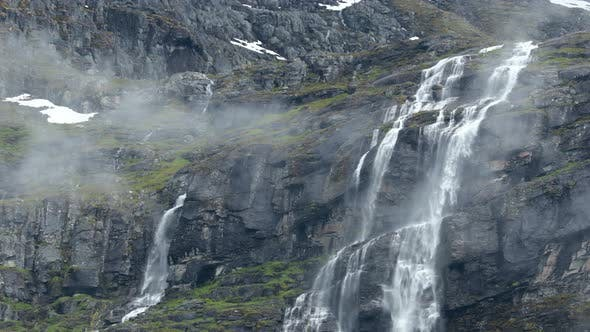 A Mountain Waterfall From a Glacier High in the Mountains of Norway
