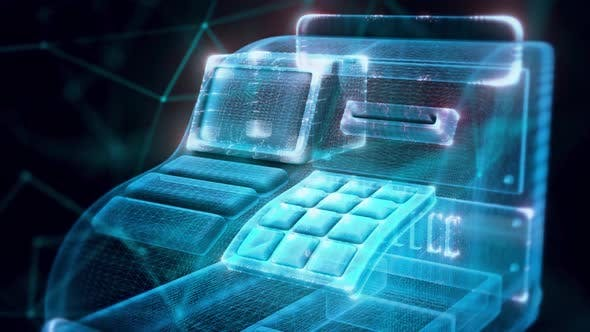 Cash Register Hologram Close Up Hd