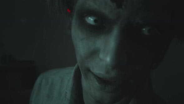 Close Up of Scary Zombie Man