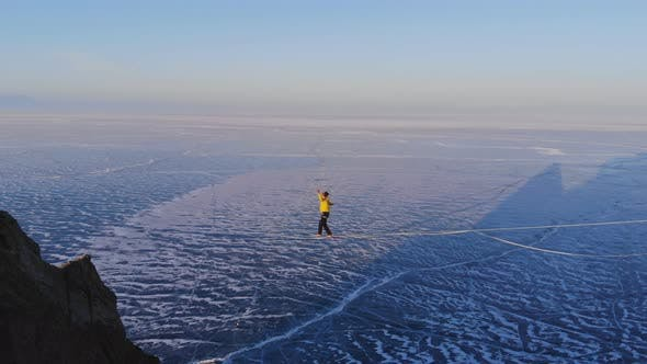 Thumbnail for Walking on a Rope in Winter.