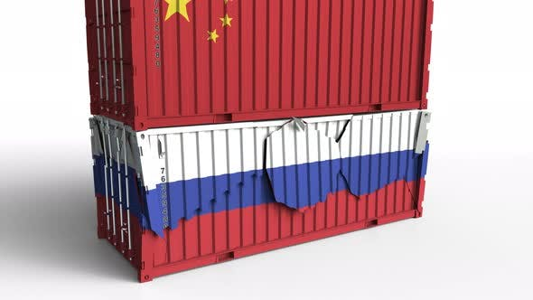 Thumbnail for Container with Flag of China Breaks Container with Flag of Russia