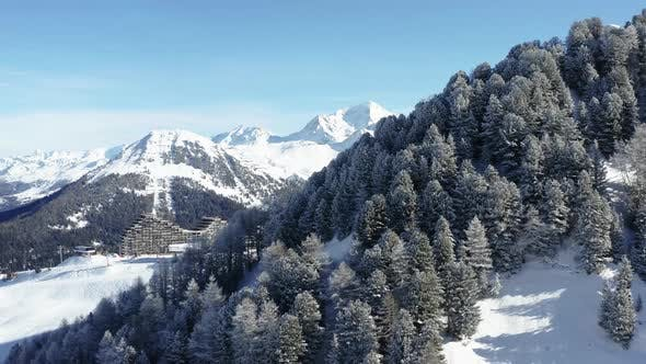 Thumbnail for La Plagne Aerial View in the French Alps in France