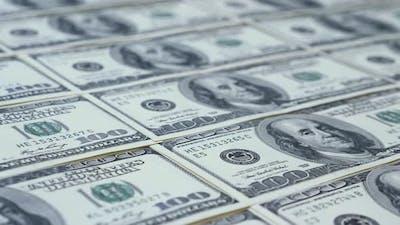 US dollar background. Cash money on table.