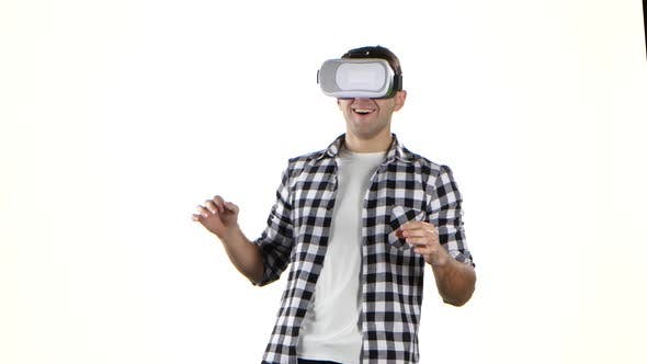 Thumbnail for Man First Sees and Puts on the Virtual Reality Glasses