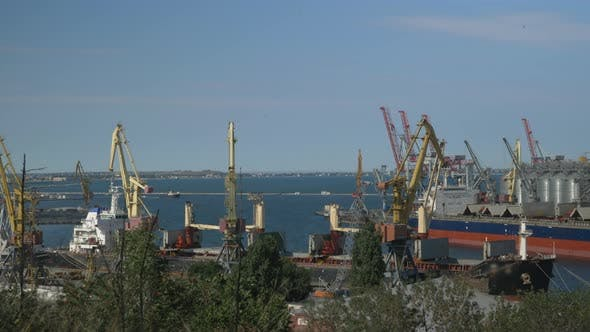 Industrial port with containers in import-export business logistic transportation of port