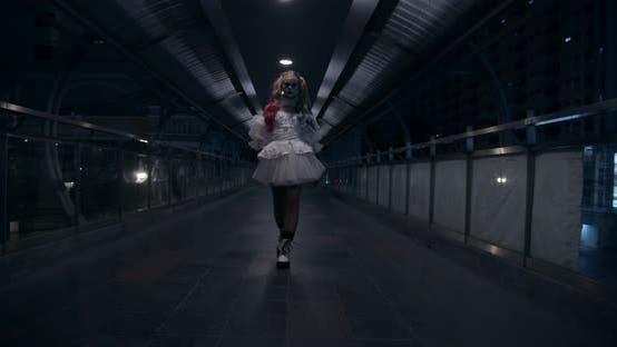Scary Clown Walking in Overpass Bridge at Night