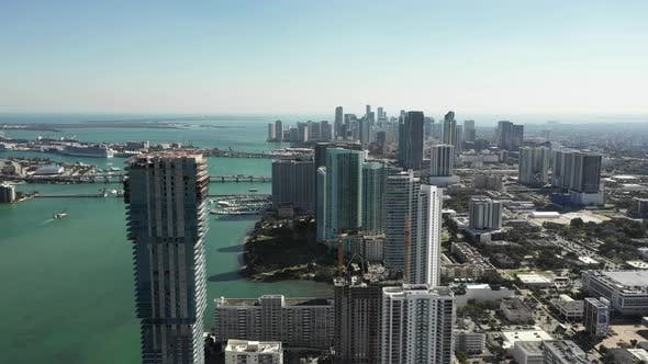 Edgewater Miami highrise buildings shot with aerial drone 4k