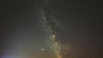 Night Starry Sky With Glowing Stars