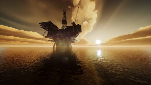 Thumbnail for Offshore Jack Up Rig in The Middle of The Sea at Sunset Time