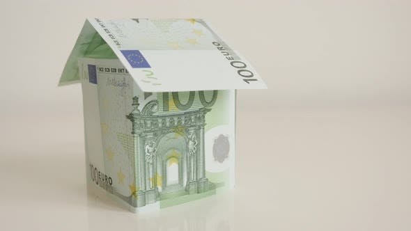Thumbnail for Concept of real estate background made of 100 Euro paper currency 4K 2160p 30fps UltraHD  tilting