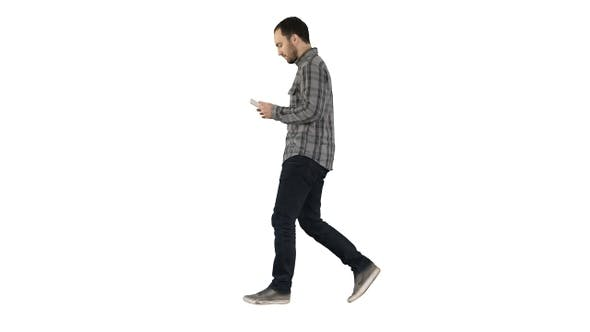 Thumbnail for Confident Serious Man Walking and Working in Tablet On