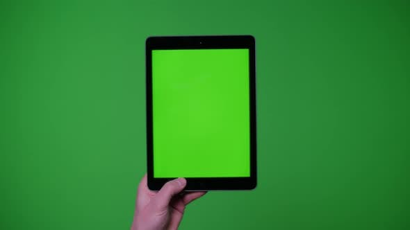 Thumbnail for Hand Gesture Pack Holding Up Ipad Smart Device On Greenscreen