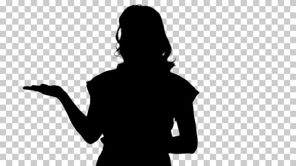 Thumbnail for Silhouette Woman presenting product with her hand showing