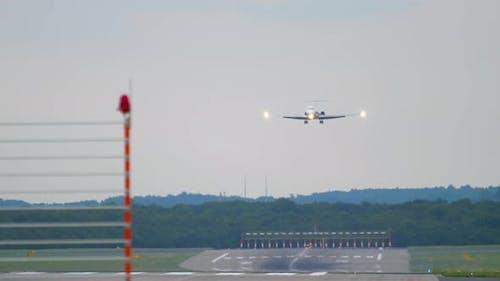 Regional Jet Approaching Before Landing