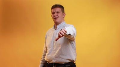 Disbelief Expression Skeptic Obese Man Dislike