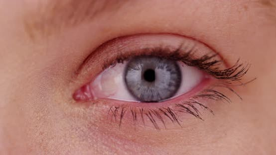 Extreme close up of young Caucasian woman's blue eye, front view