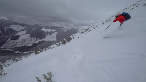 Thumbnail for Skiing Downhill Followcam