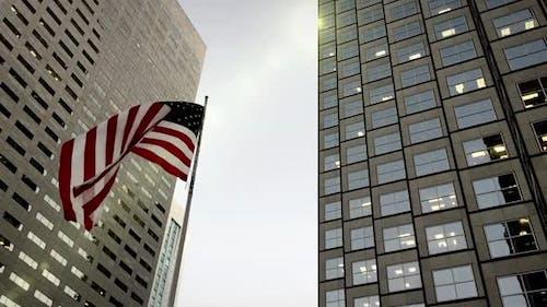 USA flag in Miami Downtown.