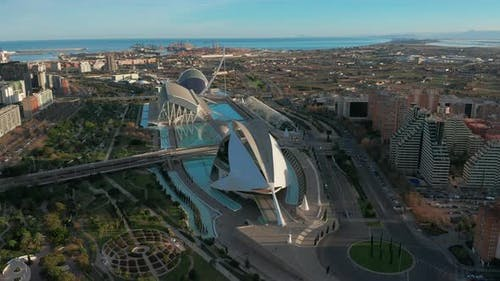 Valencia Spain. Aerial View. City of Arts and Sciences.