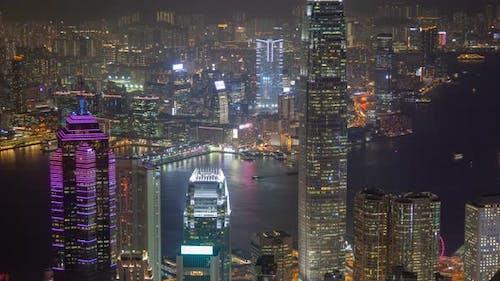 Hong Kong Skyline Urban Panorama at Night Time Lapse China