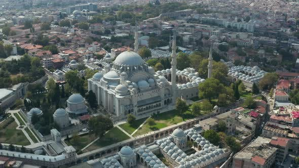 Suleymaniye Mosque with Clear Sky and Impressive Architecture in Istanbul, Turkey, Epic Aerial Wide