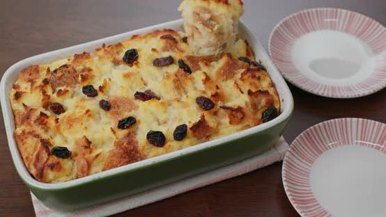 Cover Image for Homemade baked bread pudding on the table