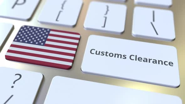 CUSTOMS CLEARANCE Text and Flag of the United States on Buttons