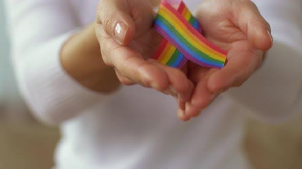 Thumbnail for Woman Holding Gay or Lgbt Pride Awareness Ribbon 14