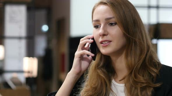 Talking on Smartphone, Negotiation by Young Girl