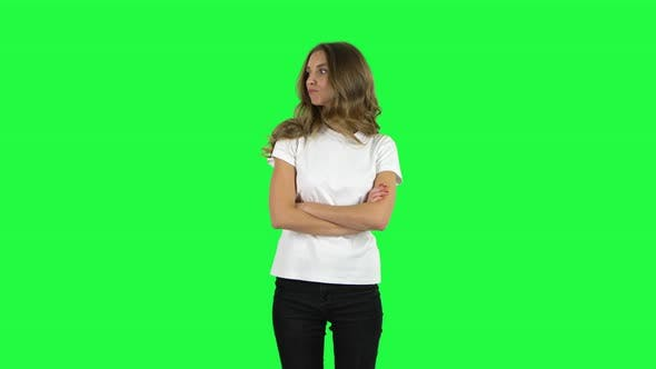 Cover Image for Lovable Girl Is Very Offended and Looks Away . Green Screen