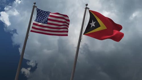 Waving Flags Of The United States And East Timor 2K