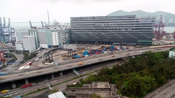 Thumbnail for Container Terminal Wide Hong Kong Overpass Road with Heavy Traffic