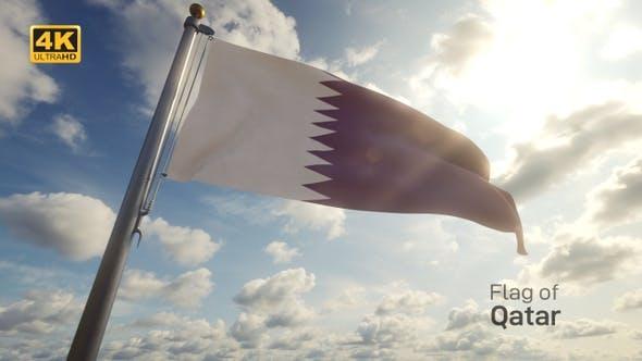 Qatar Flag on a Flagpole - 4K