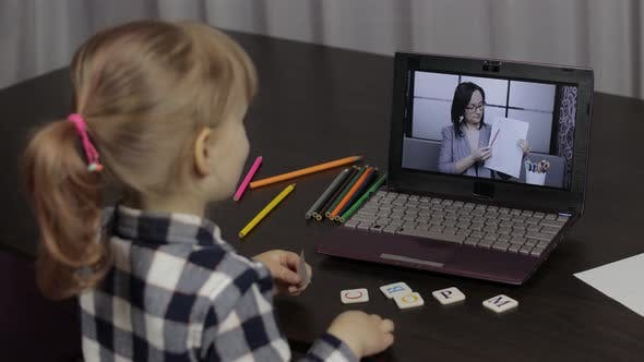 Thumbnail for Girl Distance Education Lesson with Woman Teacher, Using Digital Laptop at Home
