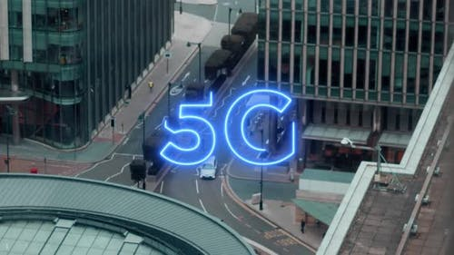 5G sign in city
