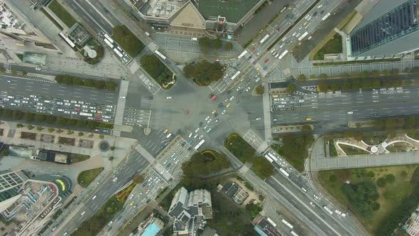 Thumbnail for Complex Crossroads in Shanghai, China. Aerial Vertical Top-Down View