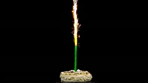 Thumbnail for Holiday Cake with Fireworks on an Isolated Black Background