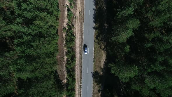Thumbnail for Copter View Car Driving To Countryside. Drone Flying Over Car Over Woods
