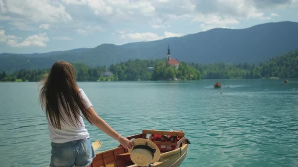Vacation in Slovenia on Famous Lake Bled in Summertime