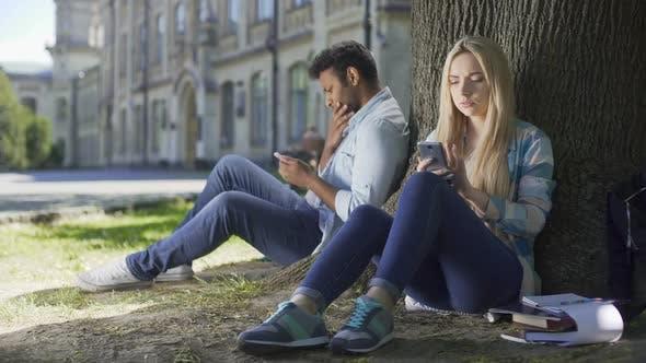 Thumbnail for Male, Female Strangers Sitting Under Tree, Using Cellphone, Girl Sighing Heavily