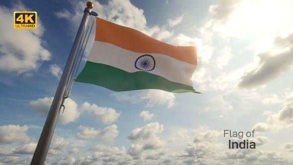 Thumbnail for India Flag on a Flagpole - 4K