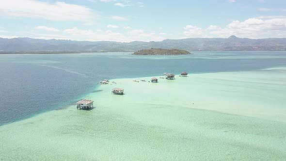 Thumbnail for Aerial Scenic Flyover Footage of a Remote Sandbar in the Philippines